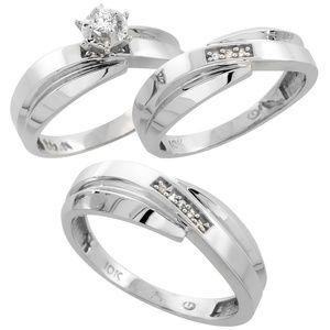 10k White Gold Diamond Trio Wedding Ring Set 3 pcs